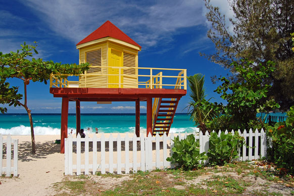 red and yellow lifeguard booth