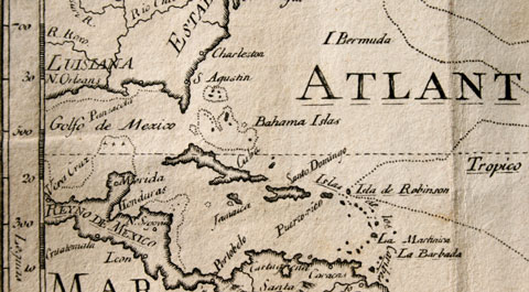 Caribbean history history of the caribbean island region 17th century spanish map of the caribbean islands sciox Image collections