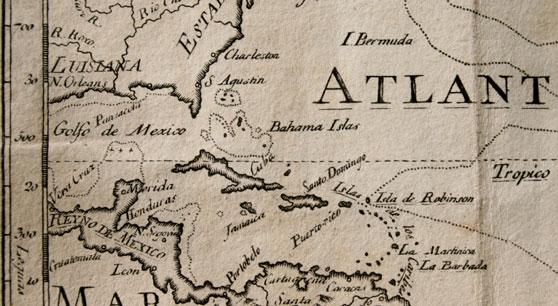 17th century Spanish map of the Caribbean islands