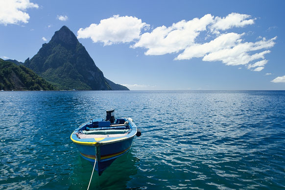 motorboat and Petit Piton