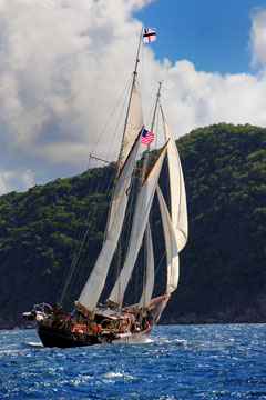 sailing ship - st john coast, us virgin islands